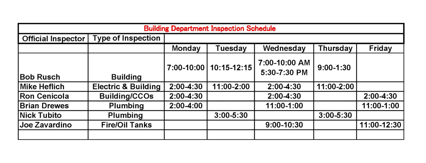 building inspection hours