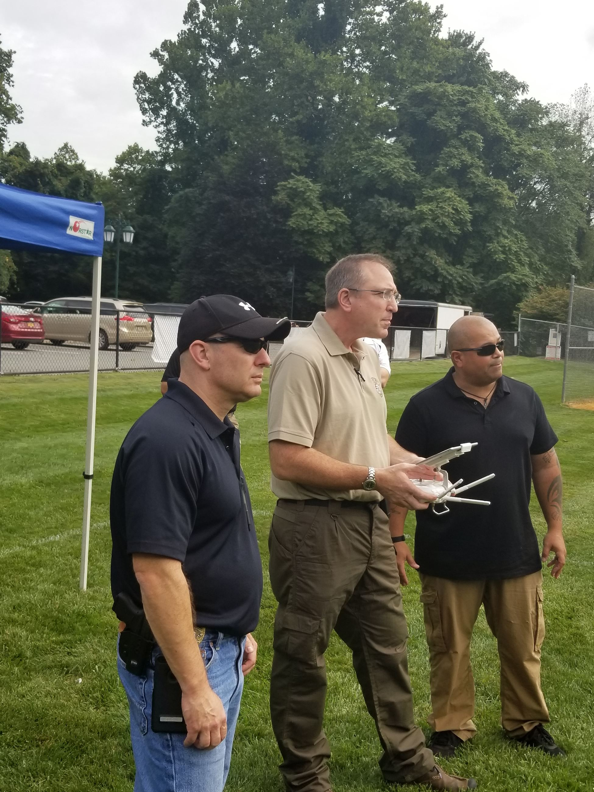 "River Vale Police Sergeant Gary Blumenthal pilots the UAV as Sergeant Charles Martel acts as the ""UA"