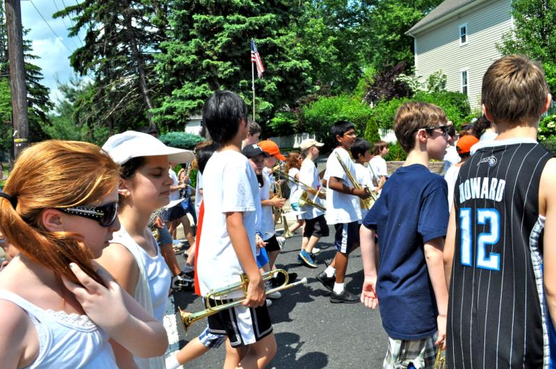 Kids with instruments in a parade
